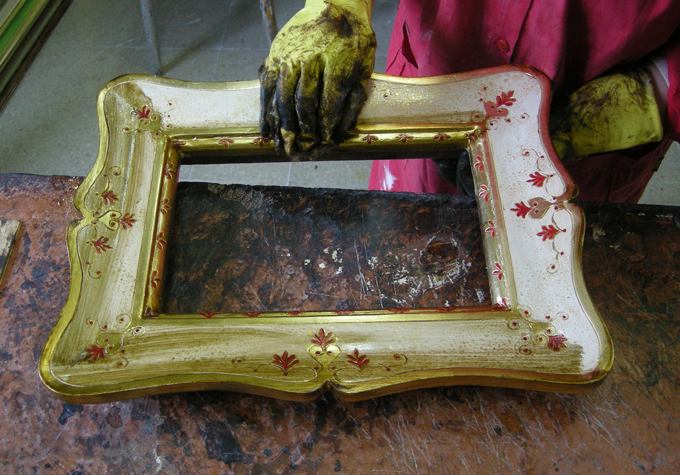 A Frame Buran Silhouette Engraving Gilding Painting
